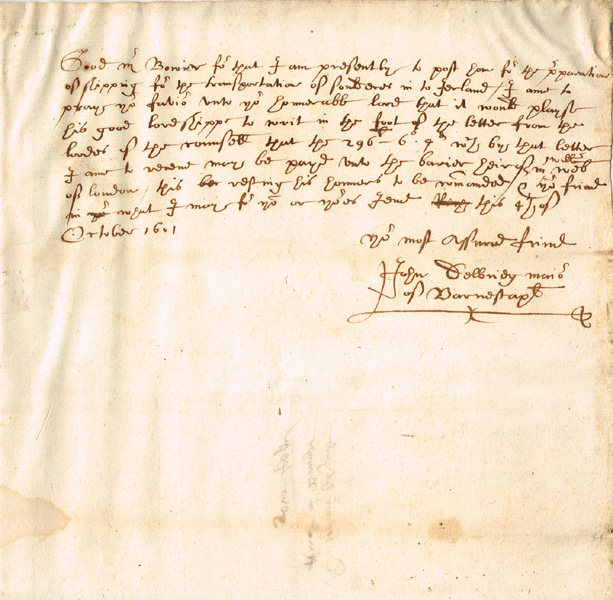 "1601 (4 October) Mayor of Barnstaple letter regarding the preparation of shipping for the transportation of soldiers in to Ireland"""" at Whyte's Auctions"