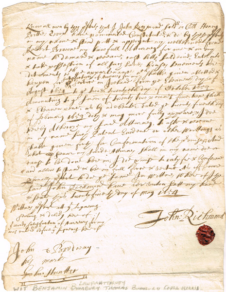 1654 - A soldier in Cromwell's Army sells his grant of land. at Whyte's Auctions
