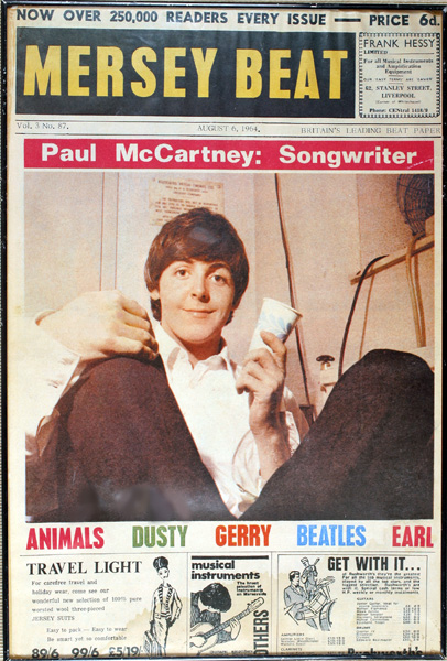 The Beatles, Paul McCartney, Mersey Beat newsagents poster at Whyte's Auctions