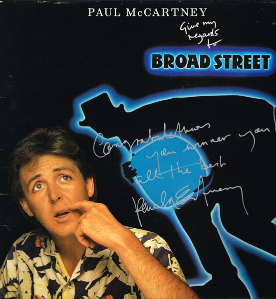 Paul McCartney, Give My Regards to Broad Street, signed. at Whyte's Auctions