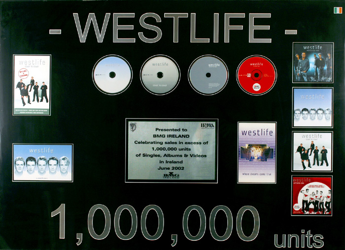 Westlife, 1,000,000 sales award at Whyte's Auctions