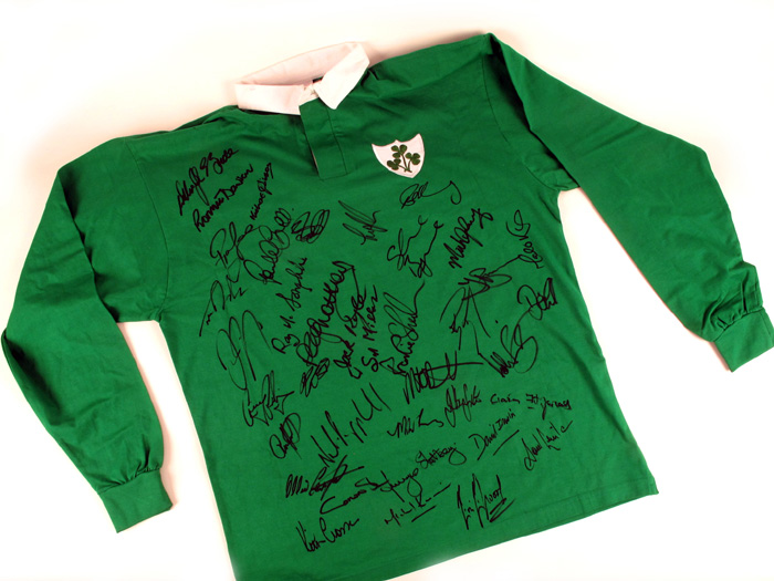 sports shoes 8e926 f1a03 Irish Rugby Legends, Rugby Shirt signed by 38 Irish ...
