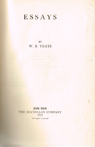 Health Education Essay Yeats William Butler Essays Limited Edition Signed At Whytes Auctions Cause And Effect Essay Topics For High School also High School Application Essay Examples Yeats William Butler Essays Limited Edition Signed At Whytes  Business Essays Samples
