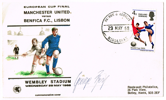 70abc157e 1968 (29 May) George Best autograph on European Cup Final commemorative  envelope. at Whyte s Auctions