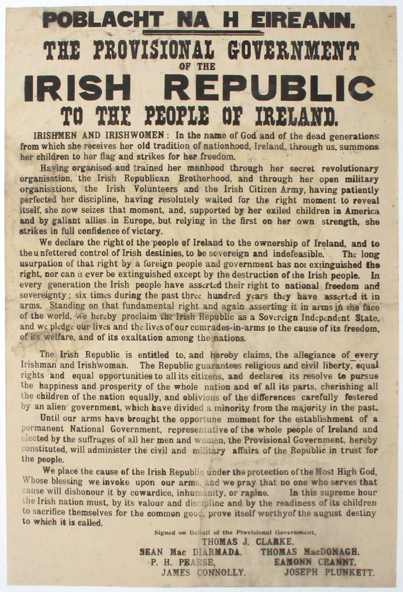 1916 (24 April). THE PROCLAMATION OF THE IRISH REPUBLIC. An original example of this iconic Irish historical document. at Whyte's Auctions