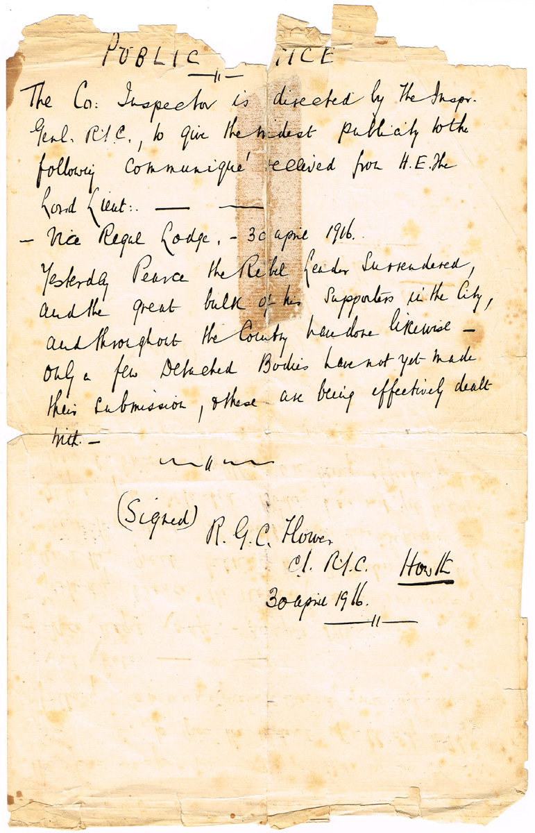 1916 (April 30) Public Notice, Surrender of Pearse the Rebel