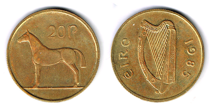 Twenty pence, 1985. The rare trial piece. at Whyte's Auctions