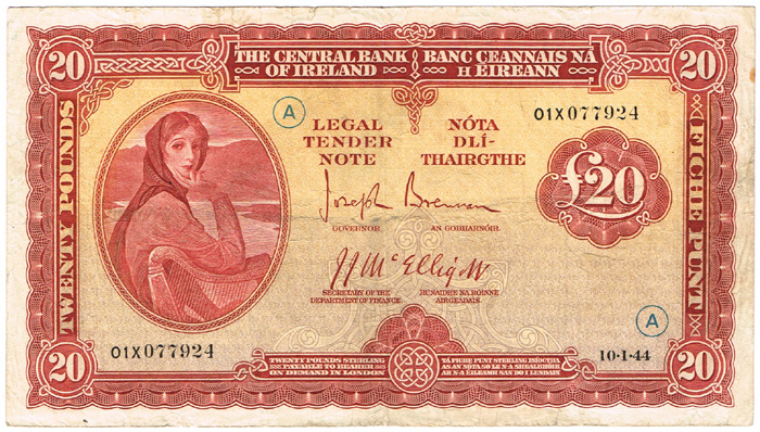 Central Bank of Ireland Lady Lavery 'War Code' Twenty Pounds 10-1-44 at Whyte's Auctions