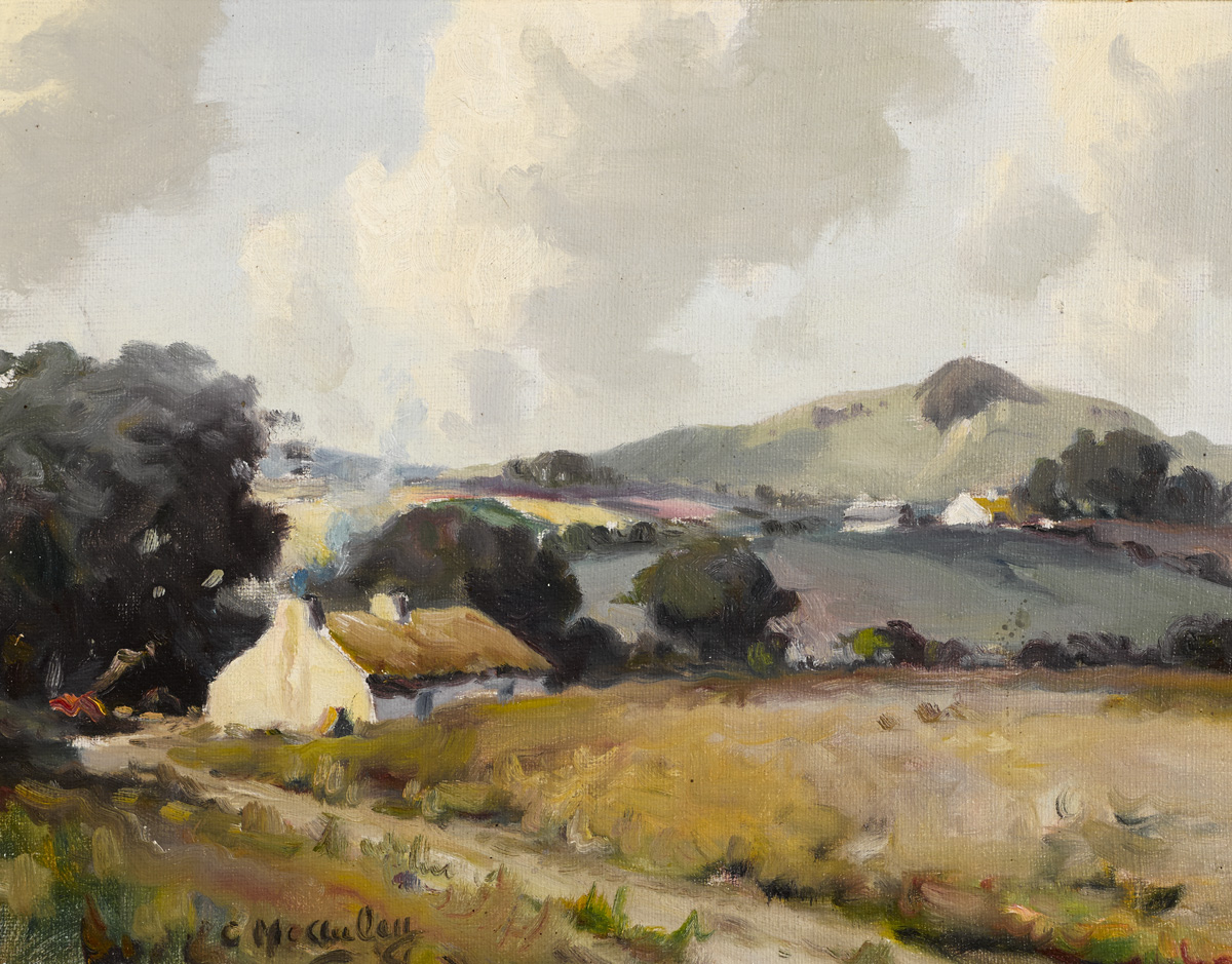 LANDSCAPE WITH THATCHED COTTAGE by Charles J. McAuley RUA ARSA (1910-1999) at Whyte's Auctions