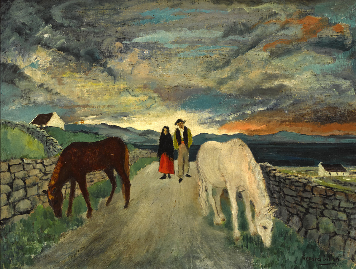 WEST OF IRELAND COUPLE AND HORSES by Gerard Dillon sold for €36,000 at Whyte's Auctions