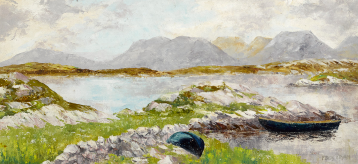 LAKE WITH MOUNTAINS IN THE DISTANCE by Fergus O'Ryan RHA (1911-1989) at Whyte's Auctions