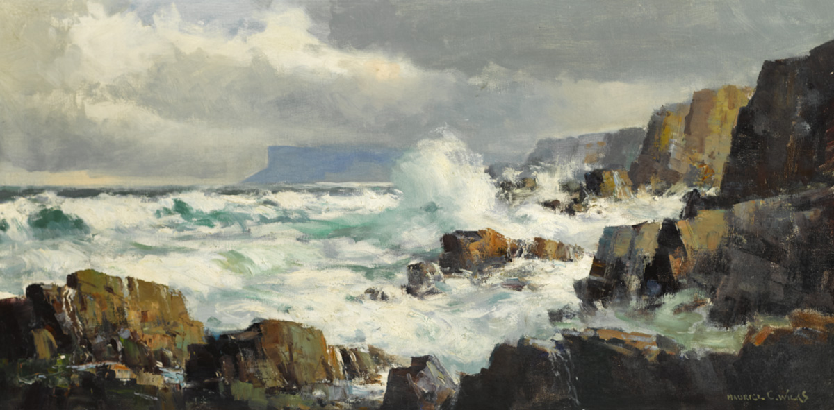 NORTHEAST GALE, ANTRIM COAST by Maurice Canning Wilks RUA ARHA (1910-1984) at Whyte's Auctions