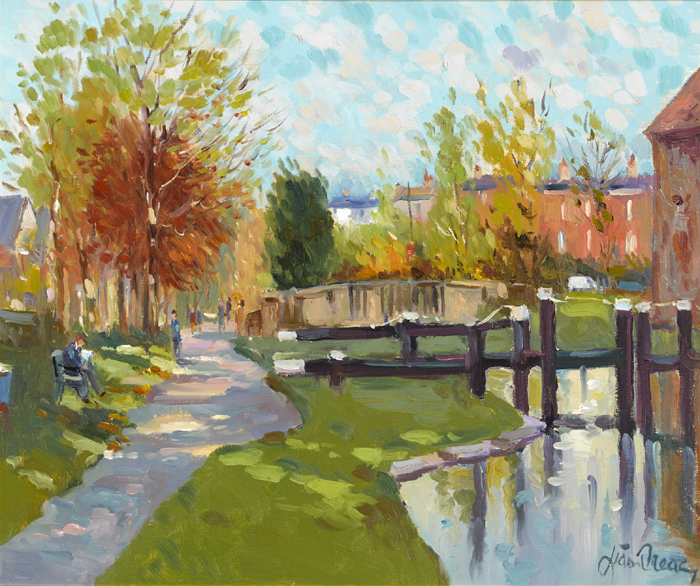 CANAL LOCK AT PERCY PLACE, DUBLIN by Liam Treacy (1934-2004) at Whyte's Auctions