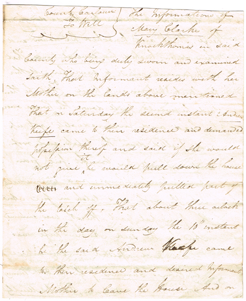 "1813 and 1822. Agrarian unrest in Ireland. Documents relating to ""The Moll Doyles"" at Whyte's Auctions"