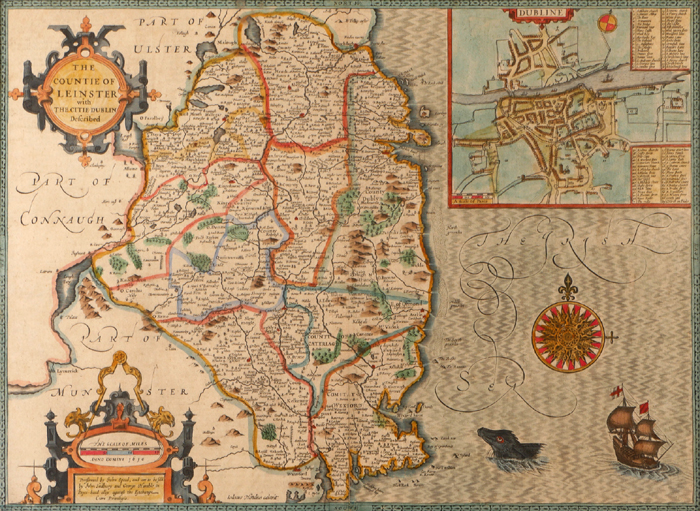 17th Century, John Speed, map of Leinster. at Whyte's Auctions