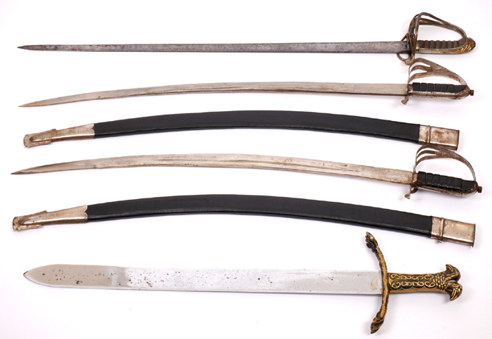 A William IV 1821-pattern Light Cavalry sword and three