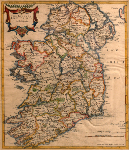 17th century map, Robert Morden, The Kingdom of Ireland. at Whyte's Auctions