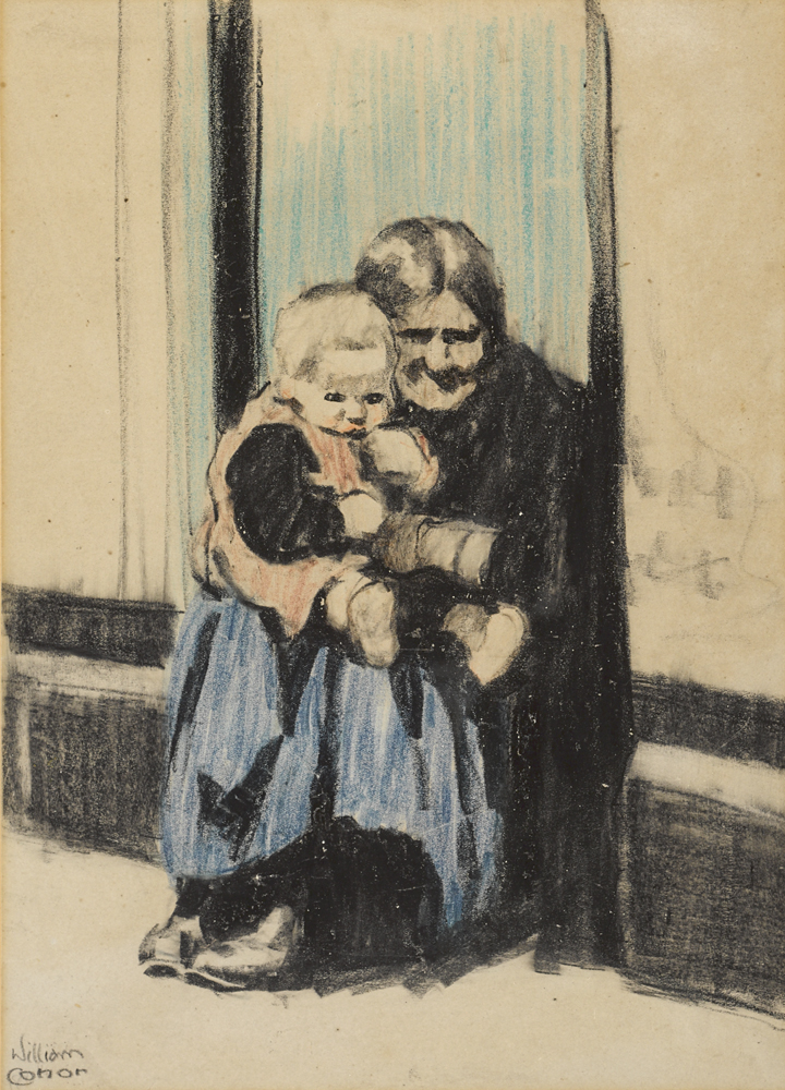 ELDERLY WOMAN AND CHILD by William Conor OBE RHA RUA ROI (1881-1968) at Whyte's Auctions