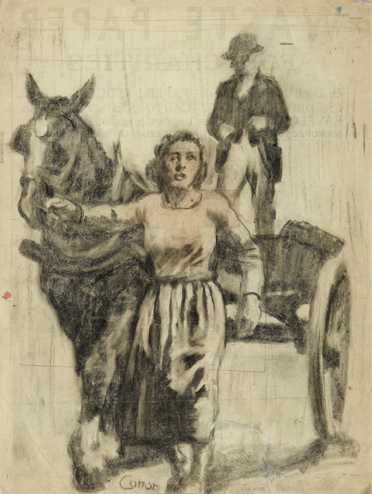 WOMAN WITH HORSE AND CART by William Conor OBE RHA RUA ROI (1881-1968) at Whyte's Auctions