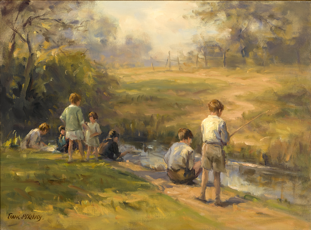 BOYS FISHING by Frank McKelvey RHA RUA (1895-1974) at Whyte's Auctions