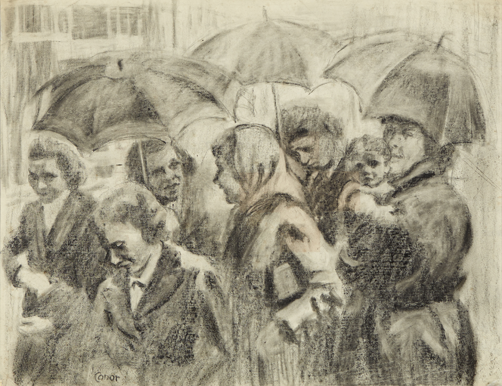 WOMEN WITH UMBRELLAS by William Conor OBE RHA RUA ROI (1881-1968) at Whyte's Auctions