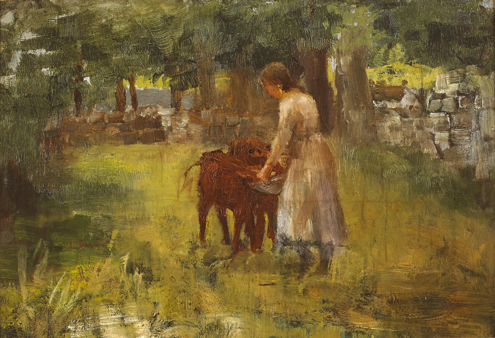 GIRL FEEDING CALVES by Walter Frederick Osborne sold for �17,000 at Whyte's Auctions