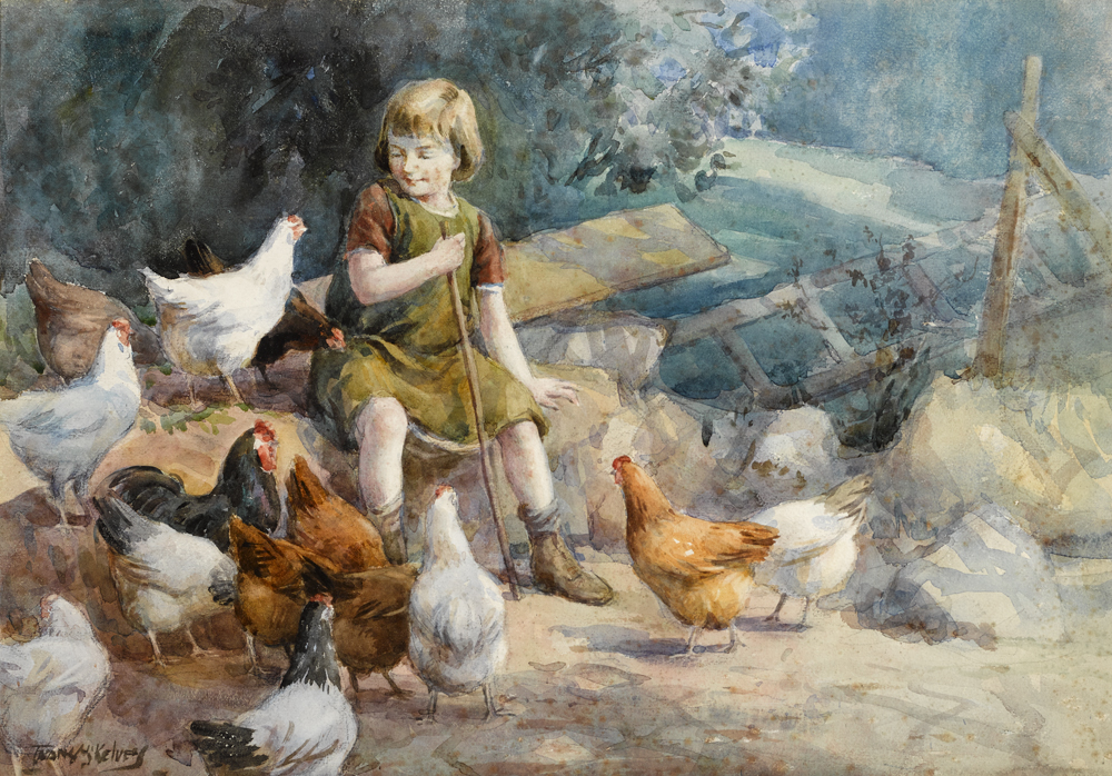 MINDING GRANNY'S  HENS by Frank McKelvey RHA RUA (1895-1974) at Whyte's Auctions