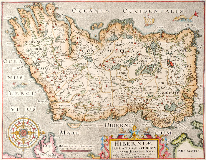 17th century, Hiberniae, Map of Ireland by William Camden and a city plan of Limerick. at Whyte's Auctions