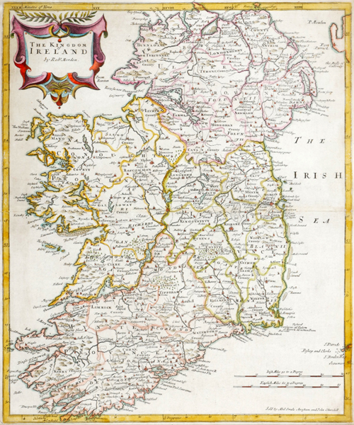 Late 17th century, map of The Kingdom of Ireland by Robert Morden. at Whyte's Auctions