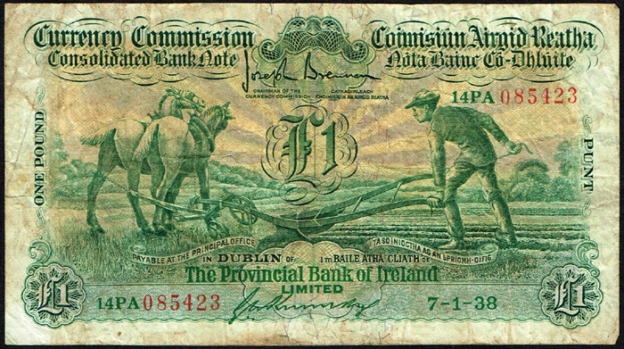 Currency Commission Consolidated Banknote Ploughman Provincial Bank Of Ireland One Pound 7 1 38