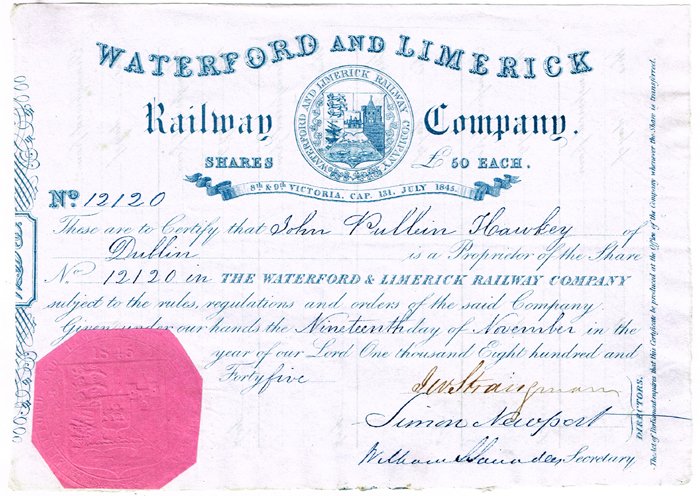 Share certificates, Irish railway companies. at Whyte\'s Auctions ...