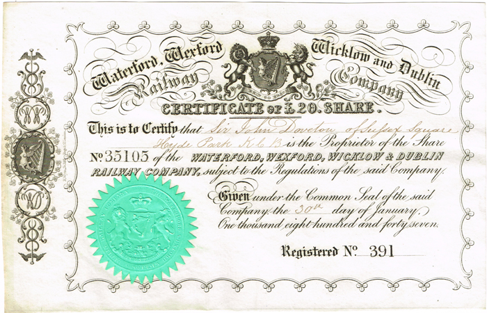 Share certificates, Irish railways and telegraphs. at Whyte\'s ...