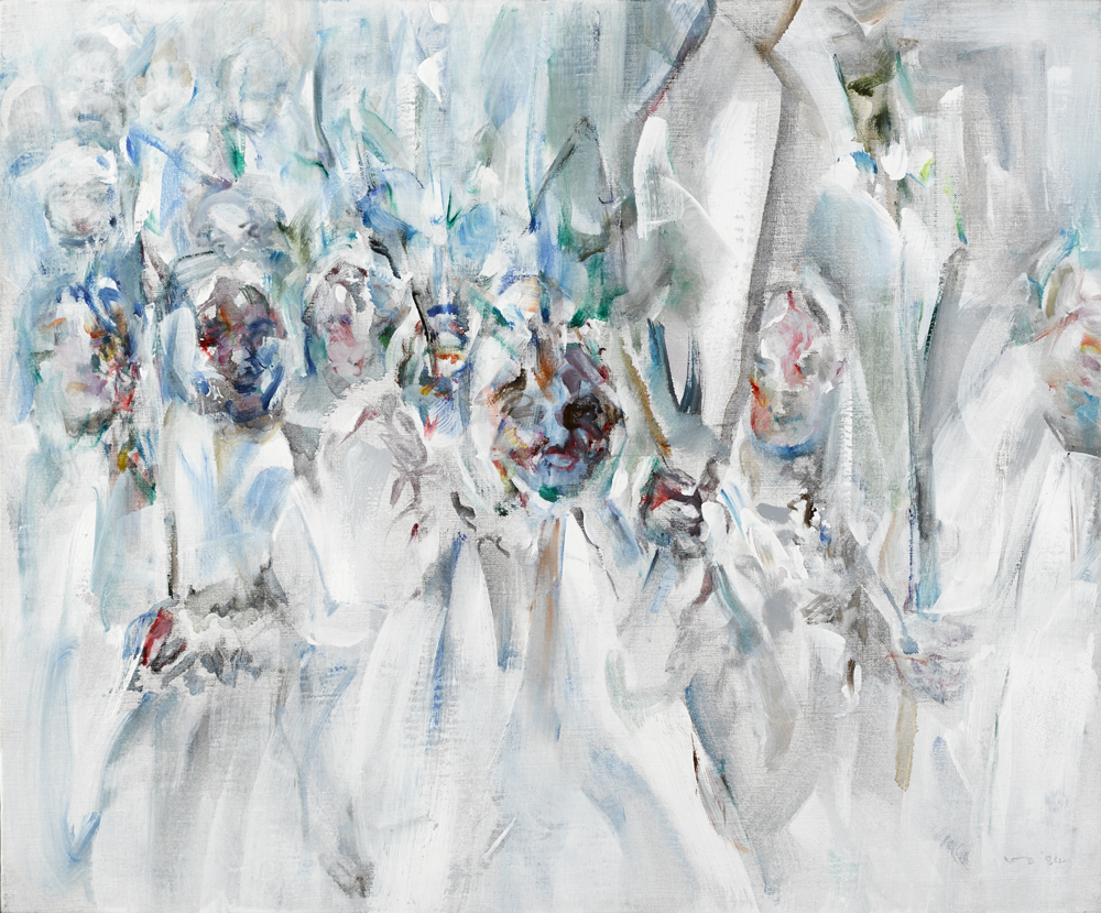 STUDY FOR RIVERRUN: PROCESSION WITH LILIES, 1984 by Louis le Brocquy sold for €46,000 at Whyte's Auctions