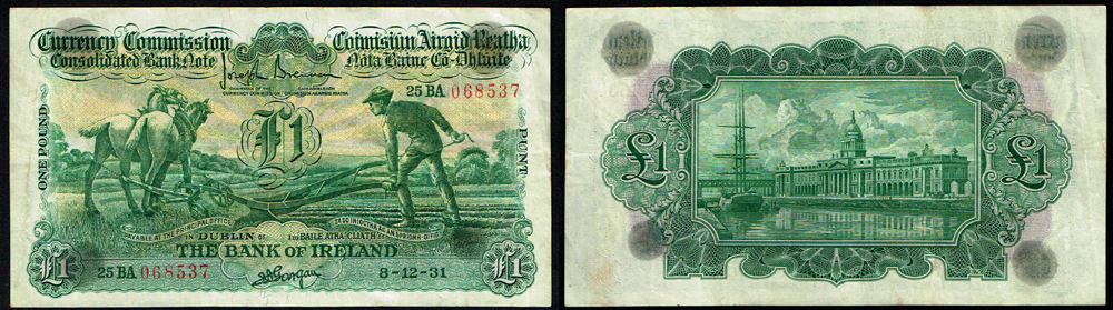 Currency Commission Consolidated Banknote Ploughman Bank Of Ireland One Pound 8 12