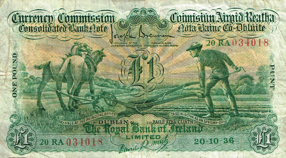 Currency Commission Consolidated Banknote Ploughman One Pound Royal Bank Of Ireland 20