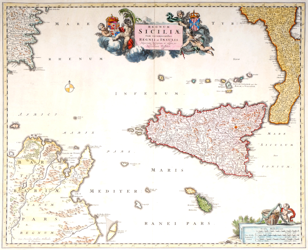 17th century map of Sicily and the toe of Italy by Nicholas Visscher on