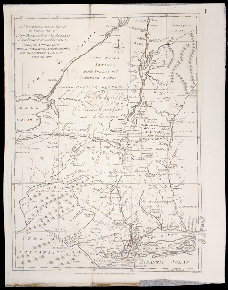 1780 Map of New York and Part of the Jerseys, New England and Canada ...
