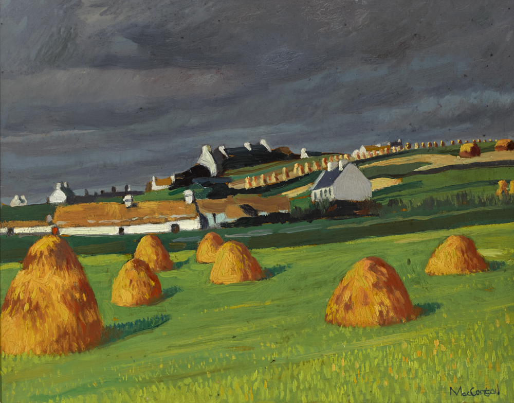 THE VILLAGE OF DUGORT, ACHILL ISLAND, COUNTY MAYO, 1936 by Maurice MacGonigal PRHA HRA HRSA (1900-1979) at Whyte's Auctions