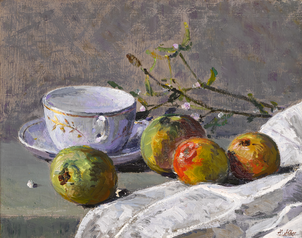STILL LIFE WITH FRUIT, CUP AND SAUCER by Hans Iten sold for �1,400 at Whyte's Auctions