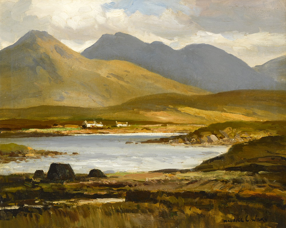 LAKE SCENE WITH COTTAGES by Maurice Canning Wilks RUA ARHA (1910-1984) at Whyte's Auctions