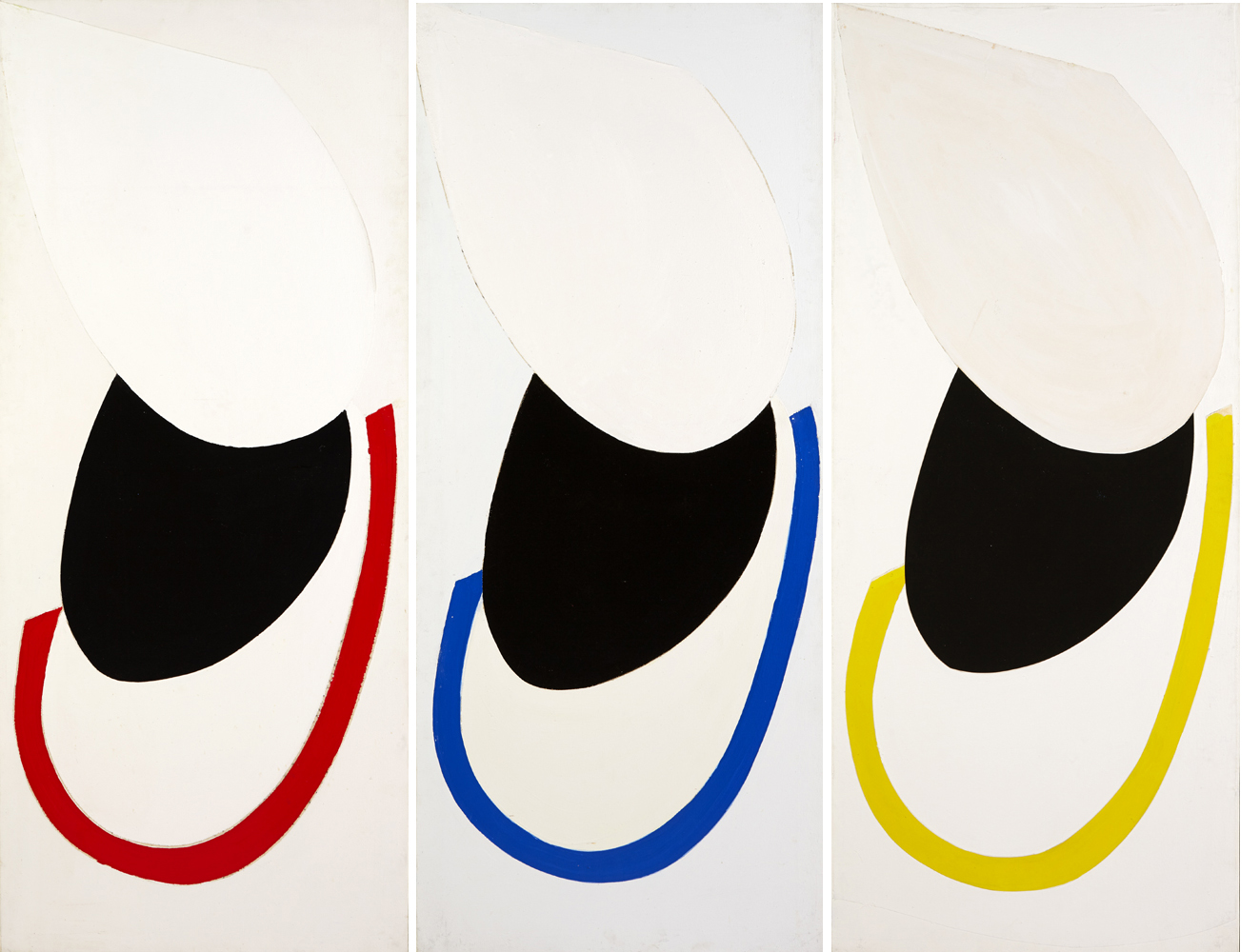 SUSPENDED FORMS TRIPTYCH [RED, BLUE AND YELLOW], 1982 by Sir Terry Frost sold for €30,000 at Whyte's Auctions