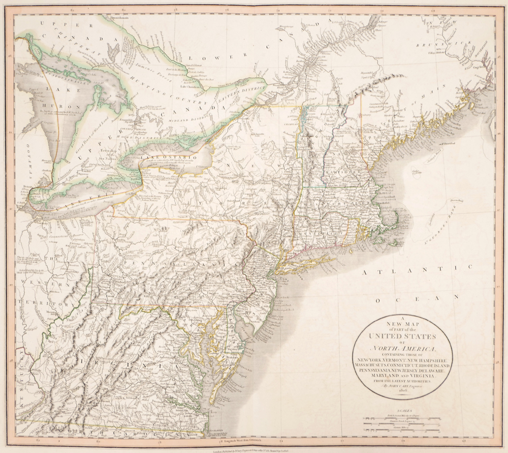 1808 Map of the North Eastern Seaboard of the United States