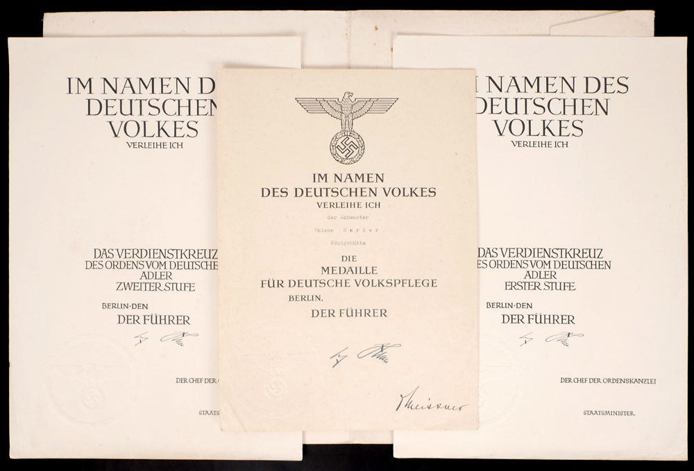 Germany Military Award Certificates With Printed Signature Of Adolf