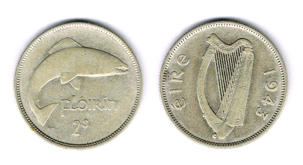 Florin, 1943. Ireland's rarest issued coin, the key date for the complete collection. at Whyte's Auctions