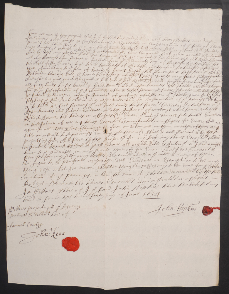 1654, Cromwellian soldier, John Hopkins, sells his grant of land to Robert Browne, Carlow. at Whyte's Auctions