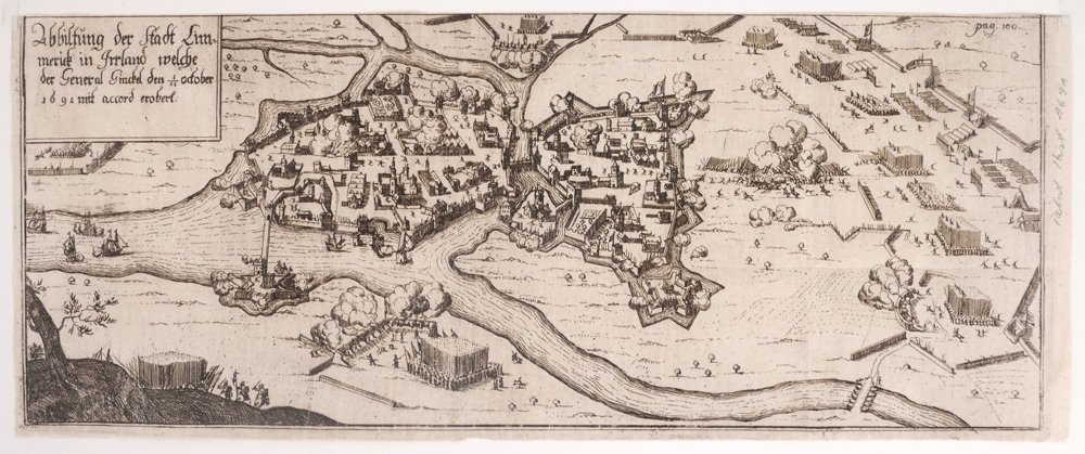 Early 18th century plan of the siege of Limerick. at Whyte's Auctions