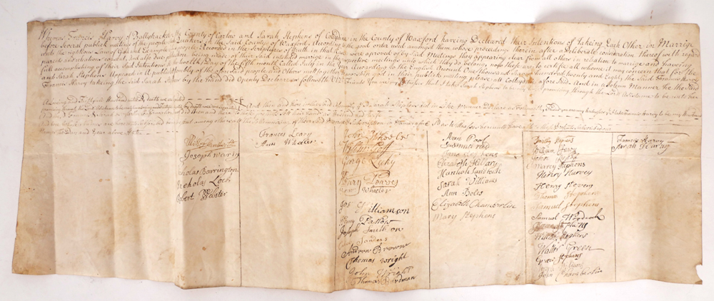 1728 Quaker marriage certificate. at Whyte's Auctions