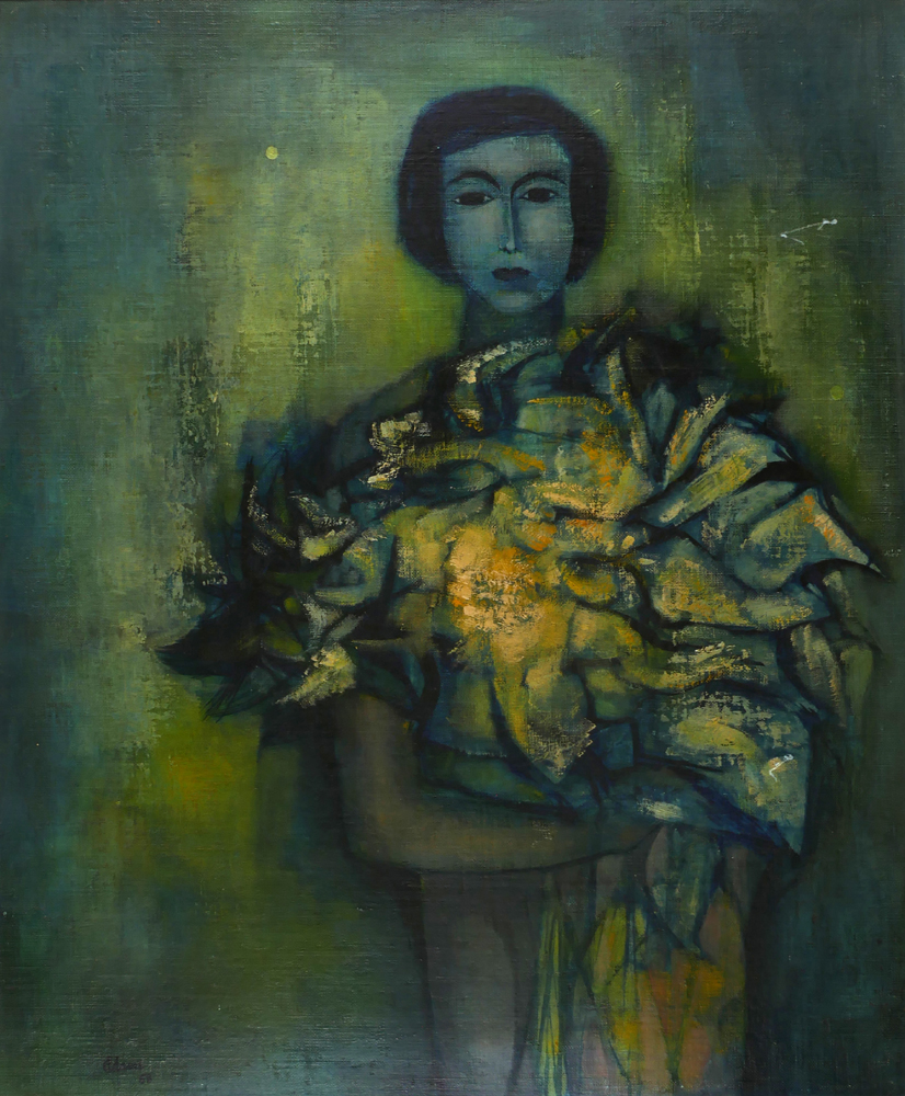 WOMAN WITH FLOWERS, 1958 by Tate Adams sold for �440 at Whyte's Auctions