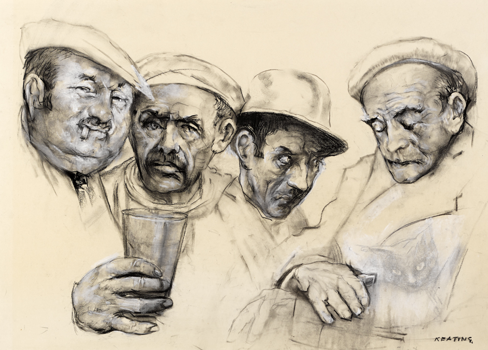 FOUR MEN AND A CAT, c.1970s by Se�n Keating PRHA HRA HRSA (1889-1977) at Whyte's Auctions