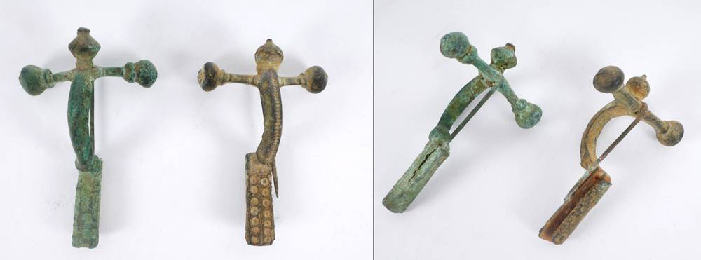 Two late-Roman bronze crossbow toga pins. at Whyte's Auctions